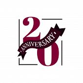 20th Anniversary Vector Logo Illustration. 20 Years Anniversary Celebration Logotype With Number And poster