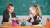 Educational Experiment Concept. Microscope And Test Tubes On Table. Be Careful Performing Chemical R poster