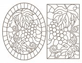 Set Contour Illustrations Of Stained Glass With Grapes And Grape Leaves , Black Contour On White Bac poster