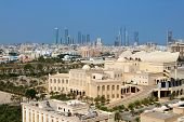 Stunning Aerial View Of Isa Cultural Centre With A Group Of Iconic Landmarks In The Backdrop, Manama poster