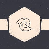 Grunge Black Hole Icon Isolated On Grey Background. Space Hole. Collapsar. Monochrome Vintage Drawin poster