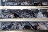 Chilled Fresh Fish On Shelves Laid Out For Processing And Packaging At The Factory poster