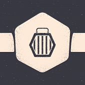 Grunge Pet Carry Case Icon Isolated On Grey Background. Carrier For Animals, Dog And Cat. Container  poster