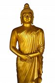 Statue Of A Standing Golden Buddha With Hands Folded On His Stomach Isolated On A White Background.  poster