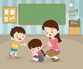 Sad Children Wants To Embrace.teacher Comforting Upset Elementary Her Child.teacher Comforting Sad G poster