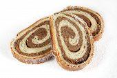 Walnut Bread Roll On White Background.croatian Orehnjaca poster