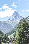 Stunning Alpine Village Zermatt In Switzerland. Famous Matterhorn Mountain In The Background. Swiss  poster
