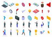 Entrepreneur Icons Set. Isometric Set Of Entrepreneur Vector Icons For Web Design Isolated On White  poster