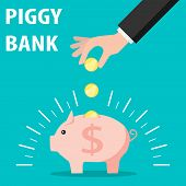 Piggy Bank And Hand With Coin. Vector Save Money In Piggy Bank, Flat Design. Save Money Concept. poster