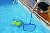 Pool Cleaner During His Work. Cleaning Robot For Cleaning The Botton Of Swimming Pools. Hotel Staff  poster
