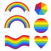 Rainbow, Geometric Shapes In The Colors Of The Rainbow. Rainbow Vector Illustration In Flat Design. poster