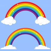 Rainbow, Rainbow With Clouds On A Blue Background. Vector Illustration poster