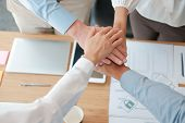 Businessman Businesswoman Joining United Hand, Business Team Touching Hands Together. Unity Teamwork poster