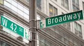 Street signs for Broadway and 42nd street in New York City