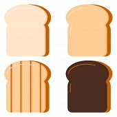 Toasts Bread Set Isolated On White Background. Vector Illustration Flat Design Cartton Style. Four S poster