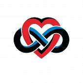 Infinite Love Concept, Vector Symbol Created With Infinity Loop Sign And Heart. poster