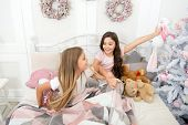Christmas Eve. Cute Soft Toys. Happy Childhood. Sisters Sharing Toys. Sisters Best Friends. Kids Pla poster