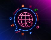 International Love Line Icon. Neon Laser Lights. Heart With Globe Symbol. Valentines Day Sign. Glow  poster