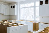 Wooden Cabinets Installation Of In The White Modular Kitchen Of Installation Base Cabinets poster