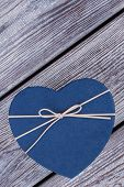 Blue Heart-shaped Gift Box. Top View On Cardboard Present Box In A Shape Of Heart. Happy Valentines  poster