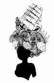 Curly Medieval Hairstyle Rococo Baroque Wig Design. poster