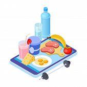 Healthy Diet App. Isometric Mobile Diet Consultant. Fruits, Meat, Water - Healthy Menu. Healthy Diet poster
