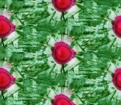 Seamless Tie-dye Pattern Of Green And Red Color On White Silk. Hand Painting Fabrics - Nodular Batik poster