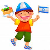 stock photo of israel israeli jew jewish  - kid holding the Israeli flag and eating falafel - JPG