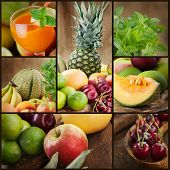 stock photo of fruit-juice  - Food colage series - JPG
