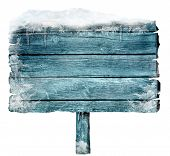 stock photo of frozen  - Wooden sign in winter with copyspace - JPG