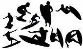 stock photo of siluet  - Surfing vectors from my sports vectors collection - JPG