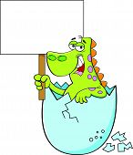 pic of dinosaur-eggs  - Cartoon illustration of a dinosaur hatching and holding a sign - JPG