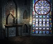 stock photo of church interior  - Old Dark Gothic Empty Room Background Image - JPG