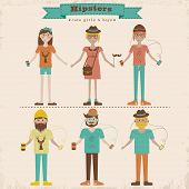 stock photo of redheaded  - Funny cartoon illustration of young girls and boys with hipster fashion style - JPG