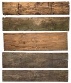 stock photo of carpentry  - Old wooden planks isolated on white background - JPG