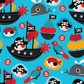 image of pirate flag  - Seamless retro pirates illustration sailing the ocean background pattern in vector - JPG