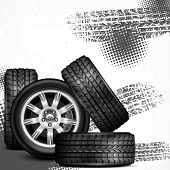 stock photo of speeding car  - Car wheels and tire tracks grange on white vector illustration - JPG
