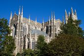 stock photo of duke  - Duke University Chapel is located on the campus of Duke University in Durham North Carolina and seats 1800 people - JPG