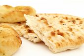 Indian Naan bread on white background