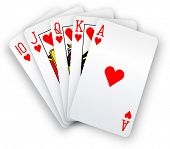 stock photo of poker hand  - Royal straight flush playing cards poker hand in hearts - JPG