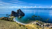 picture of shaman  - Shaman Rock Island of Olkhon Lake Baikal Russia on a Summer Day - JPG