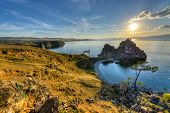 picture of landforms  - Shaman Rock Island of Olkhon Lake Baikal Russia on a Summer Day.