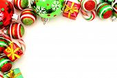 pic of candy cane border  - Christmas corner border with baubles - JPG