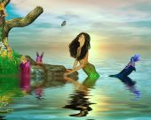 pic of nymphet  - Mermaid surrounded by fairies in the ocean - JPG