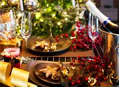 image of christmas dinner  - Christmas And New Year Holiday Table Setting - JPG