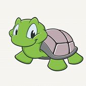 stock photo of carapace  - Vector illustration of a cutely smiling cartoon turtle - JPG