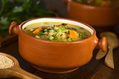 foto of scallion  - Vegetarian quinoa soup with carrot potato celery and leek sprinkled with parsley and scallion 