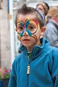Jerusalem, Israel - 15 March 2006: Purim Carnival. Little Boy With A Body-art On Face.