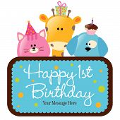 image of dog birthday  - Isolated baby animals with first birthday sign  - JPG