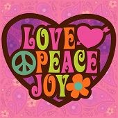 stock photo of peace-sign  - 70s Love Peace Joy Vector - JPG